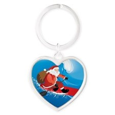 Santa Stand Up Paddle Ornament Heart Keychain