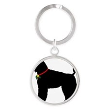 Poodle Christmas or Holiday Silhoue Round Keychain