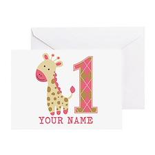 Pink Giraffe First Birthday - Personalized Greetin