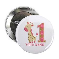 "Pink Giraffe First Birthday - Personalized 2.25"" B"