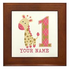 Pink Giraffe First Birthday - Personalized Framed