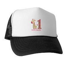 Pink Giraffe First Birthday - Personalized Trucker Hat