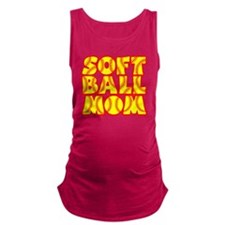 neon red yellow, Softball Mom Maternity Tank Top