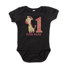 Pink Giraffe First Birthday - Personalized Baby Bo