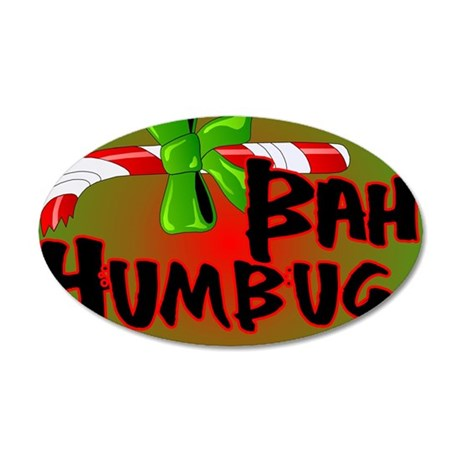 Bah Humbug Broken Candy Cane 35x21 Oval Wall Decal