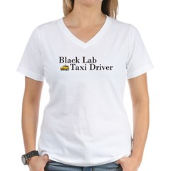 Black Lab Taxi Women's V-Neck T-Shirt