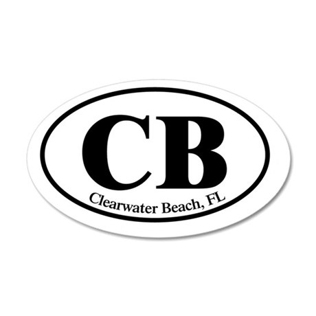 CB.Clearwater Beach.Dutch.wh 35x21 Oval Wall Decal