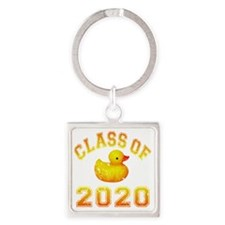 CO2020 Rubber Duckie Orange Red Di Square Keychain
