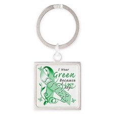 I Wear Green Because I Love My Sis Square Keychain