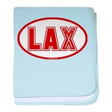 Lacrosse Oval LAX Red baby blanket