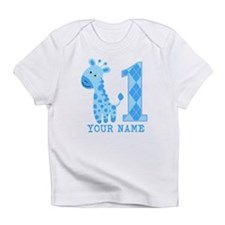 Blue Giraffe First Birthday Infant T-Shirt