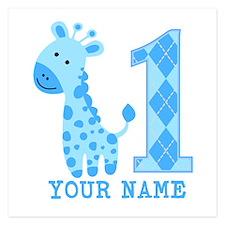 Blue Giraffe First Birthday 5.25 x 5.25 Flat Cards