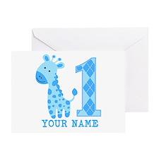 Blue Giraffe First Birthday Greeting Card