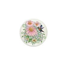 humbrd_floral11x11 Mini Button