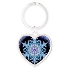 November Snowflake - square Heart Keychain