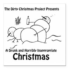 "Drunk Christmas CD Art Square Car Magnet 3"" x 3"""
