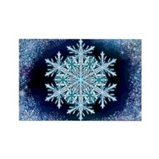 December Snowflake - wide Rectangle Magnet
