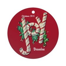 Personalized Candy Cane Joy Christmas Ornament