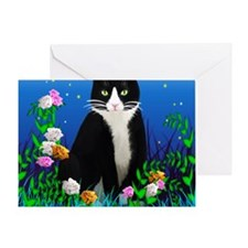 Tuxedo Cat among the Flowers Greeting Card