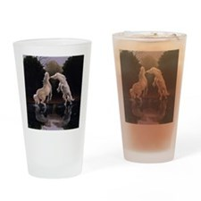horses playing in water vert blanke Drinking Glass