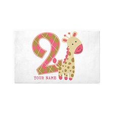 2nd Birthday Giraffe Personalized 3'x5' Area Rug