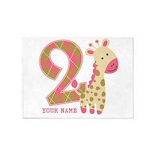 2nd Birthday Giraffe Personalized 5'x7'Area Rug