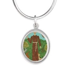 Saint Francis of Assisi Silver Oval Necklace