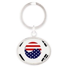 Korean-American Flag Oval Keychain