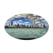 ipad2-chicago-dream-wht Oval Car Magnet