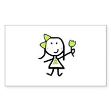 Girl & Lime Ribbon Rectangle Decal