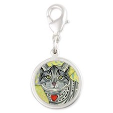 cat-gray-tabby-heart-colors-1- Silver Round Charm