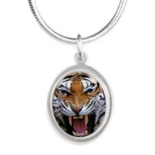 Atiger shirt Silver Oval Necklace