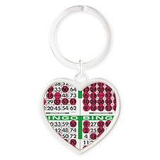 Jackpot Bingo Cards 1 bag Heart Keychain
