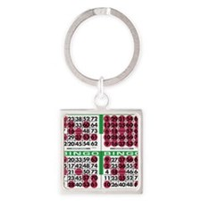Jackpot Bingo Cards 1 bag Square Keychain