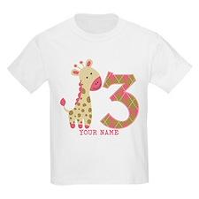 3rd Birthday Pink Giraffe Personalized T-Shirt