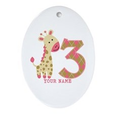 3rd Birthday Pink Giraffe Personalized Ornament (O