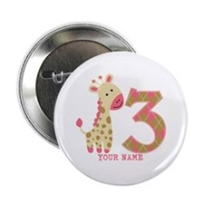 "3rd Birthday Pink Giraffe Personalized 2.25"" Butto"