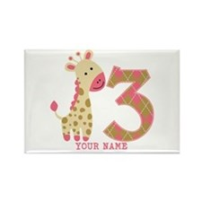 3rd Birthday Pink Giraffe Personalized Rectangle M