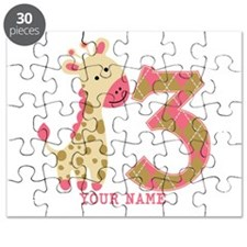 3rd Birthday Pink Giraffe Personalized Puzzle