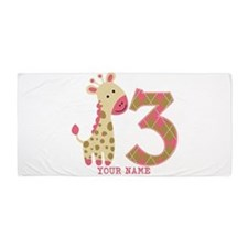 3rd Birthday Pink Giraffe Personalized Beach Towel