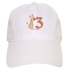 3rd Birthday Pink Giraffe Personalized Baseball Cap