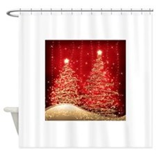 Sparkling Christmas Trees Red Shower Curtain