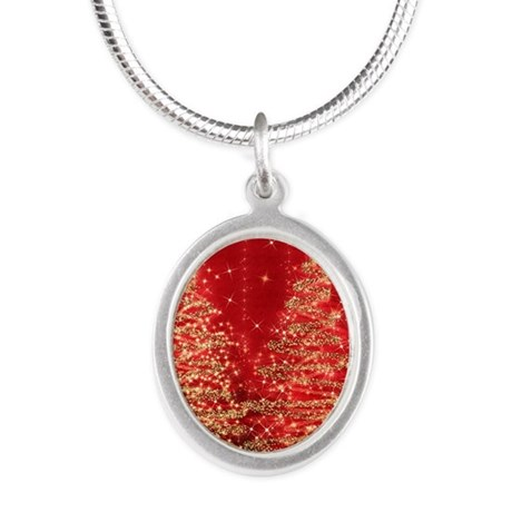 Sparkling Christmas Trees Red Silver Oval Necklace