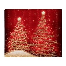 Sparkling Christmas Trees Red Throw Blanket