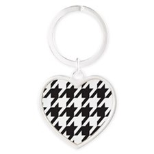 houndsooth square 1 Heart Keychain
