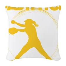 gold, fastpitch Woven Throw Pillow