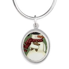 snowman1 Silver Oval Necklace