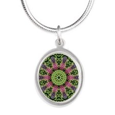 flower62 Silver Oval Necklace