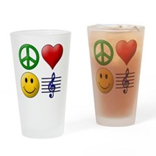 Peace Love Happiness Music Drinking Glass