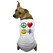 Peace Love Happiness Music Dog T-Shirt